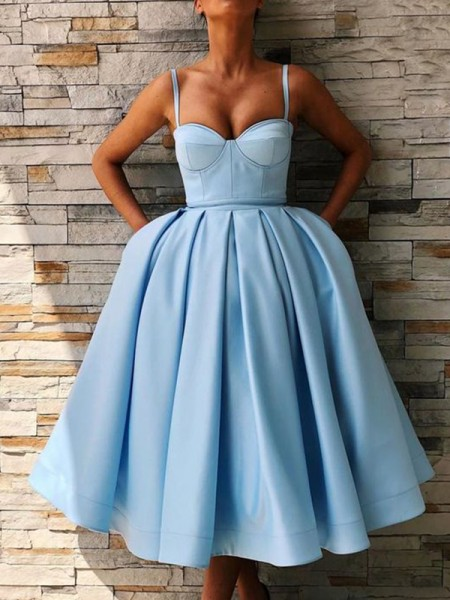 Ball Gown Satin Ruffles Spaghetti Straps Sleeveless Tea-Length Short Dresses