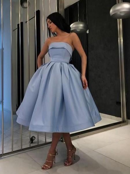 Ball Gown Satin Ruffles Strapless Sleeveless Tea-Length Short Dresses