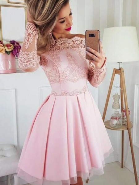 A-Line/Princess Satin Lace Long Sleeves Short/Mini Homecoming Dresses