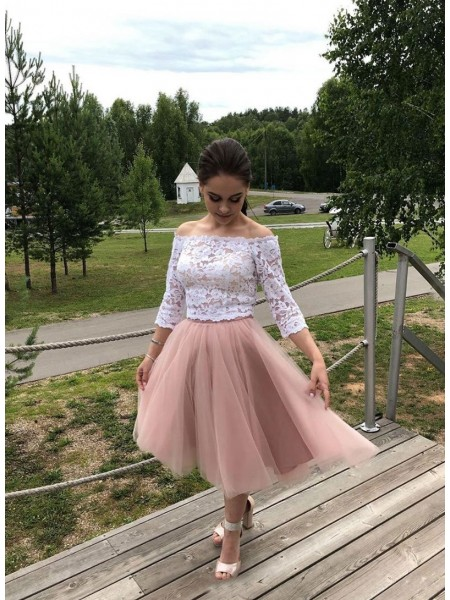 A-Line/Princess Tulle Lace Long Sleeves Tea-Length Homecoming Dresses