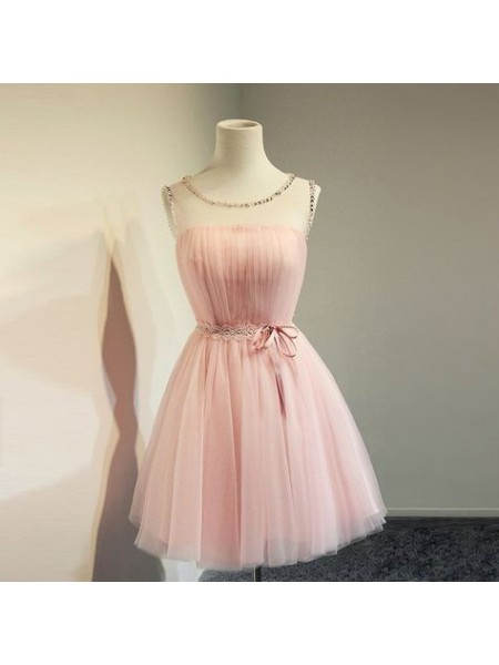A-Line/Princess Tulle Beading Scoop Sleeveless Short/Mini Homecoming Dresses