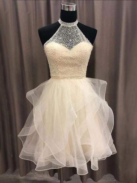 A-Line/Princess Organza Beading Sleeveless Short/Mini Homecoming Dresses