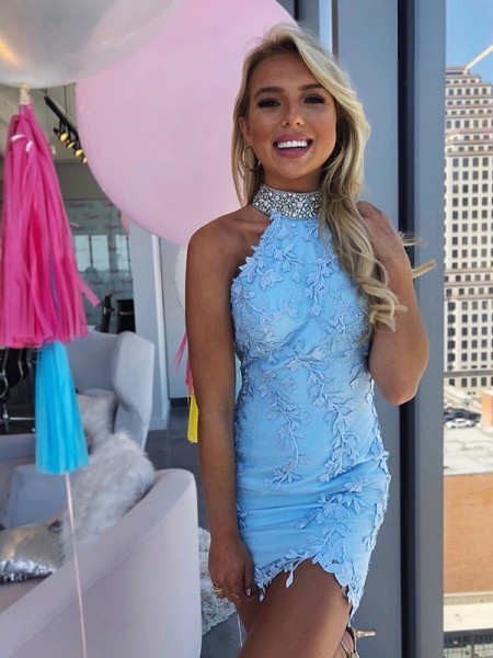 Sheath/Column Lace Beading Sleeveless Short/Mini Homecoming Dresses