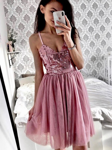A-Line/Princess Tulle Sequin Sleeveless Short/Mini Homecoming Dresses