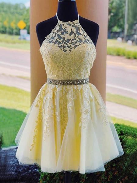 A-Line/Princess Tulle Sleeveless Applique Short/Mini Homecoming Dresses