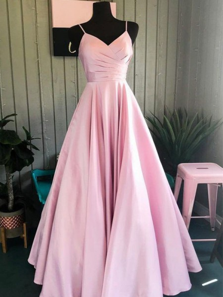 A-Line/Princess Satin Ruched Sleeveless Floor-Length Dresses