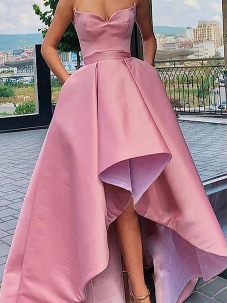 A-Line/Princess Satin Ruffles Sweetheart Sleeveless Asymmetrical Dresses