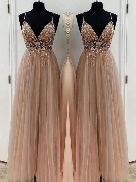 A-Line/Princess Beading Tulle Sleeveless Floor-Length Dresses