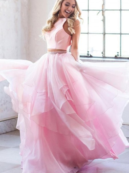 A-Line/Princess Beading Scoop Tulle Sleeveless Floor-Length Two Piece Dresses