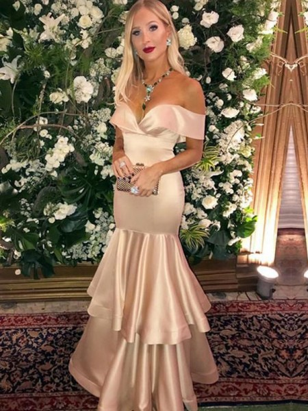 Trumpet/Mermaid Satin Off-the-Shoulder Sleeveless Floor-Length Dresses