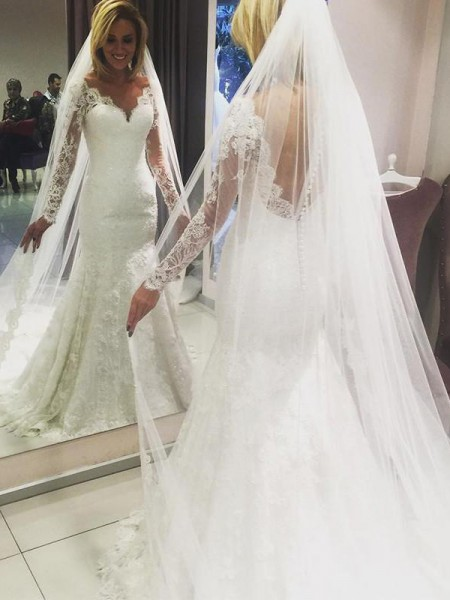 Sheath/Column V-neck Sweep/Brush Train Lace Wedding Dresses
