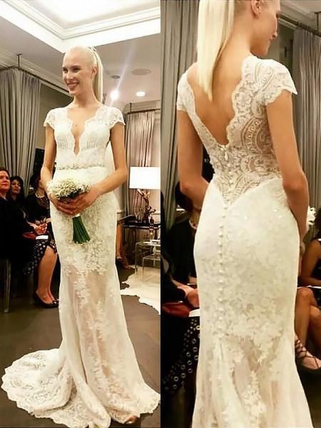 Sheath/Column V-neck Lace Sweep/Brush Train Wedding Dresses