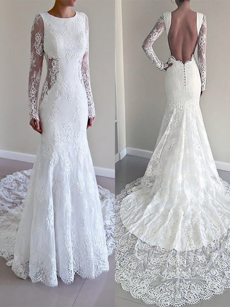 Trumpet/Mermaid Scoop Court Train Lace Wedding Dresses