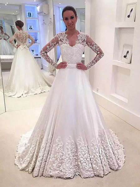 A-Line/Princess V-neck Satin Sweep/Brush Train Wedding Dresses