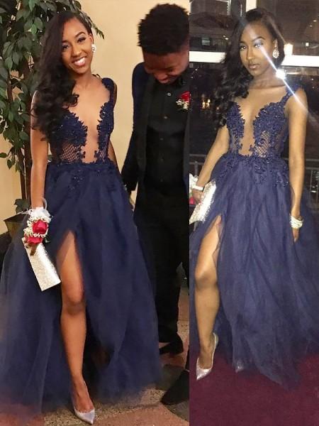 A-Line/Princess Tulle V-neck Floor-Length Bridesmaid Dresses