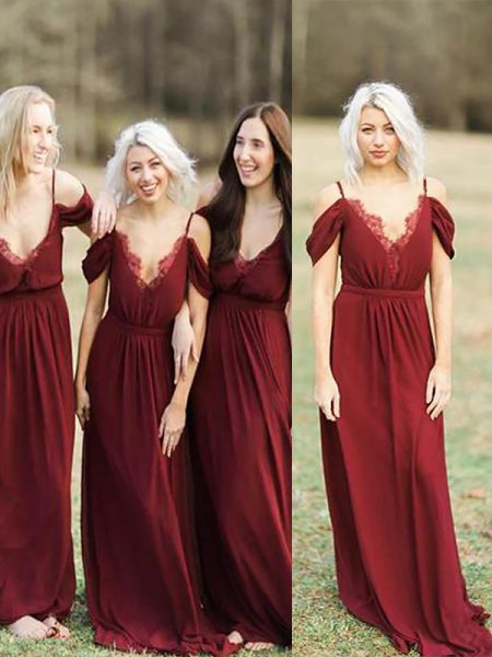 A-Line/Princess Spaghetti Straps Floor-Length Lace Chiffon Bridesmaid Dresses