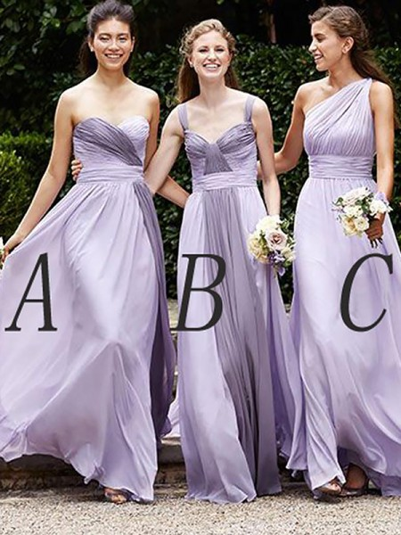 A-Line/Princess Chiffon Floor-Length Bridesmaid Dresses