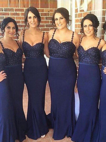 Trumpet/Mermaid Spaghetti Straps Sweep/Brush Train Satin Bridesmaid Dresses