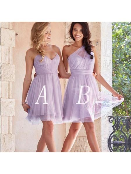 A-Line/Princess Tulle Short/Mini Bridesmaid Dresses