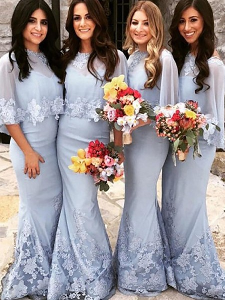 Trumpet/Mermaid Scoop Satin Floor-Length Bridesmaid Dresses