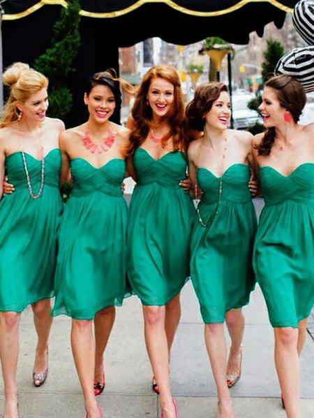 A-Line/Princess Sweetheart Chiffon Short/Mini Bridesmaid Dresses