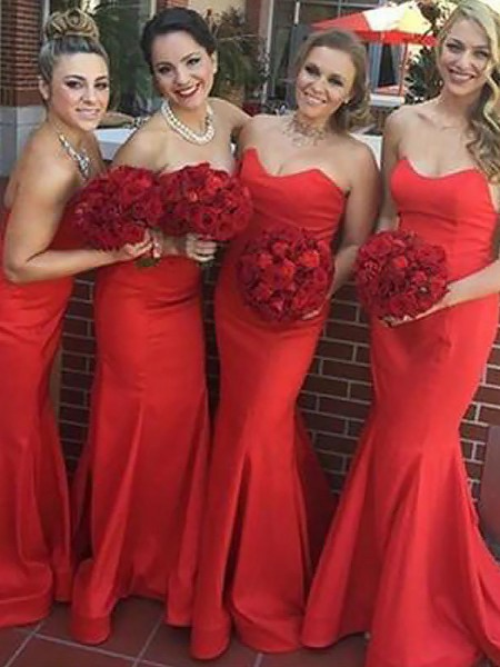 Trumpet/Mermaid Sweetheart Floor-Length Satin Bridesmaid Dresses