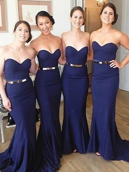 Trumpet/Mermaid Sweetheart Sweep/Brush Train Satin Bridesmaid Dresses