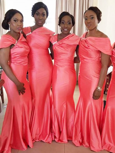 Trumpet/Mermaid Off-the-Shoulder Floor-Length Satin Bridesmaid Dresses