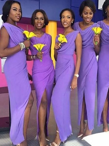 Sheath/Column Scoop Chiffon Floor-Length Bridesmaid Dresses