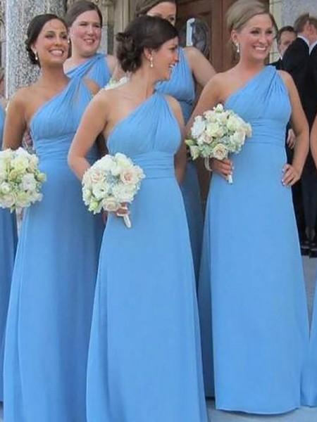 Sheath/Column One-Shoulder Chiffon Floor-Length Bridesmaid Dresses