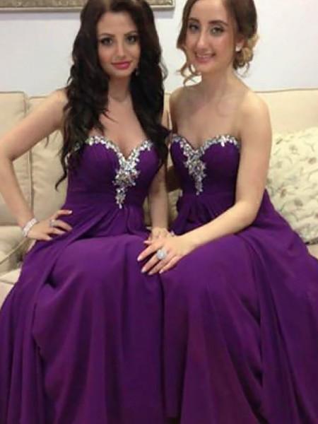 A-Line/Princess Sweetheart Chiffon Floor-Length Bridesmaid Dresses
