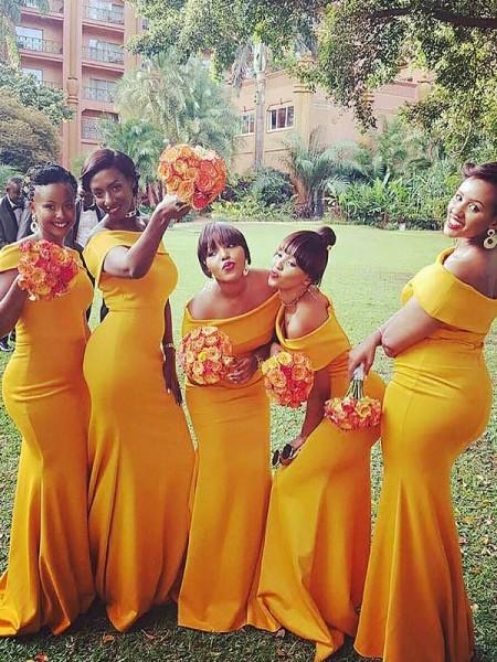 Trumpet/Mermaid Sweep/Brush Train Off-the-Shoulder Satin Bridesmaid Dresses