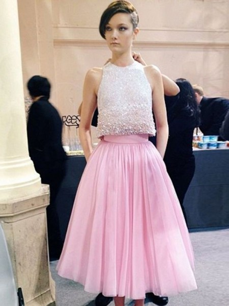 A-Line/Princess Scoop Sleeveless Tea-Length Tulle Dresses