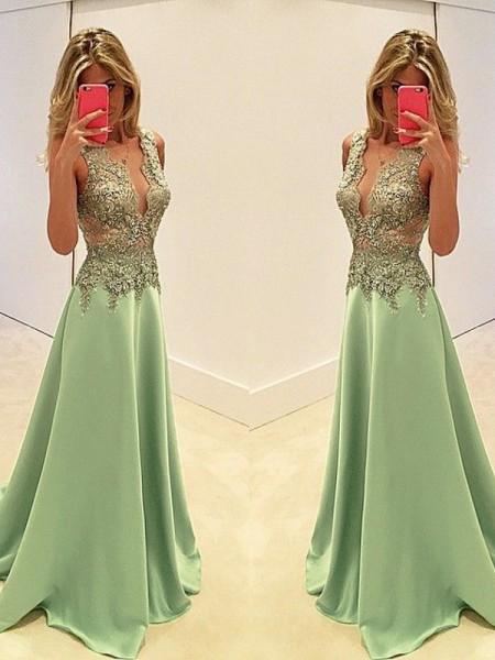 A-Line/Princess V-neck Sweep/Brush Train Sleeveless Satin Applique Dresses