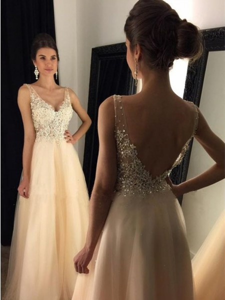A-Line/Princess V-Neck Sleeveless Sweep/Brush Train Tulle Dresses