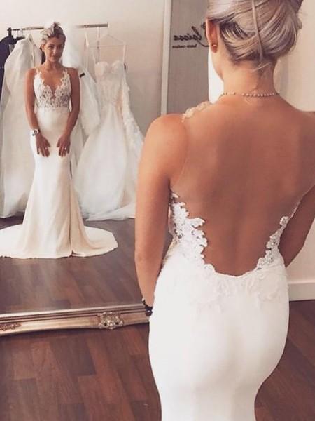 Trumpet/Mermaid Spandex Scoop Court Train Applique Wedding Dresses