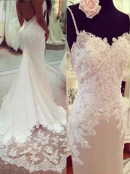 Trumpet/Mermaid Satin Spaghetti Straps Court Train Applique Wedding Dresses