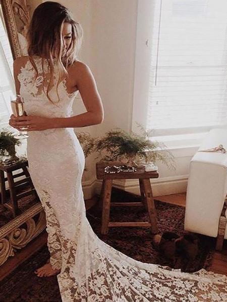 Trumpet/Mermaid Halter Lace Chapel Train Wedding Dresses