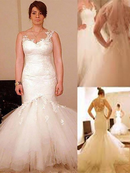 Trumpet/Mermaid Floor-Length Organza Straps Wedding Dresses