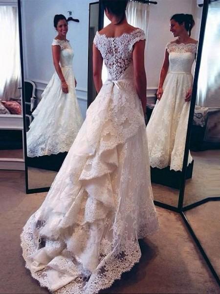 A-Line/Princess Scoop Lace Sweep/Brush Train Wedding Dresses