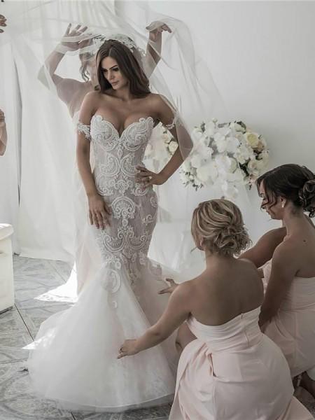 Trumpet/Mermaid Chapel Train Off-the-Shoulder Tulle Wedding Dresses
