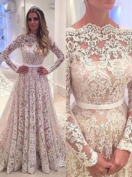 A-Line/Princess Bateau Lace Court Train Wedding Dresses