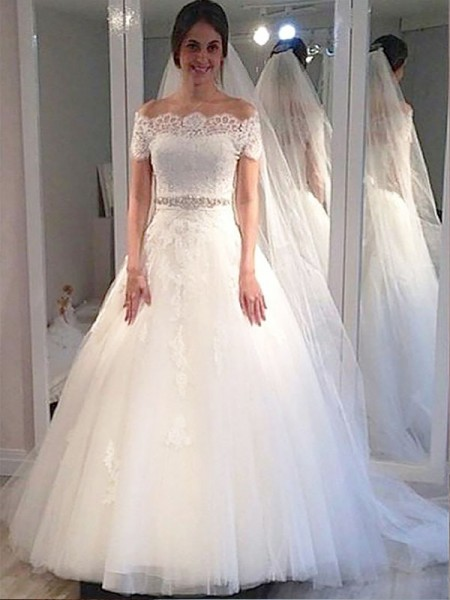 Ball Gown Off-the-Shoulder Tulle Sweep/Brush Train Wedding Dresses