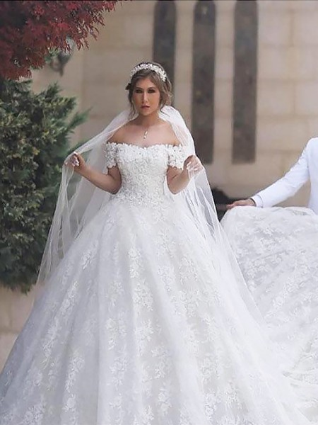 Ball Gown Off-the-Shoulder Lace Tulle Court Train Wedding Dresses