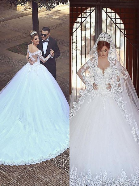 Ball Gown Tulle Off-the-Shoulder Court Train Wedding Dresses