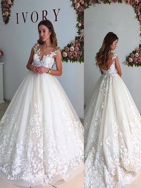A-Line/Princess Tulle V-neck Court Train Wedding Dresses