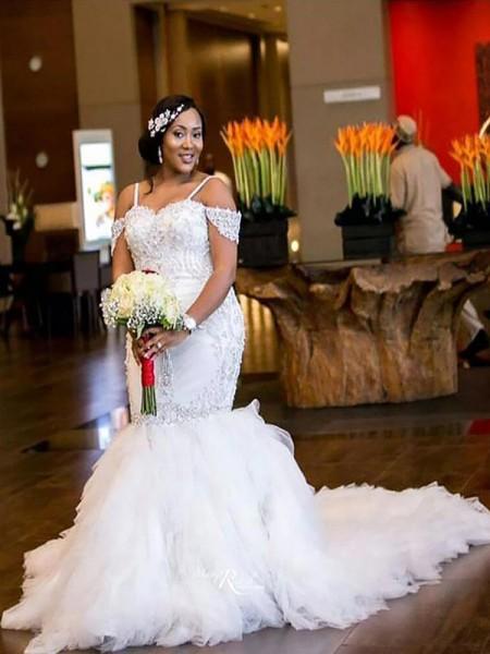 Trumpet/Mermaid Off-the-Shoulder Court Train Tulle Wedding Dresses