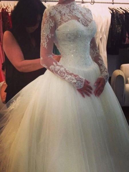 A-line/Princess High Neck Court Train Organza Wedding Dress
