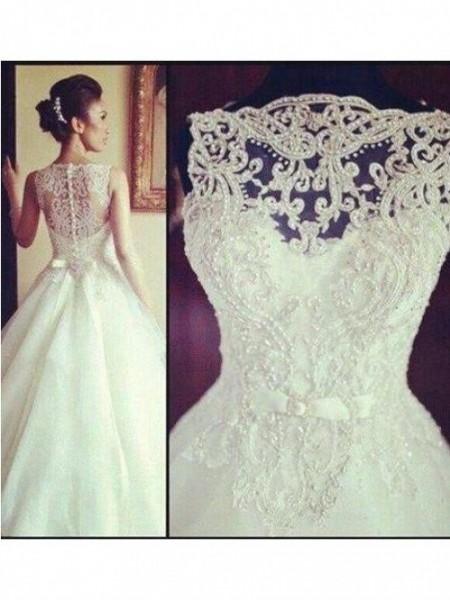 A-line/Princess Bateau Court Train Tulle Wedding Dress