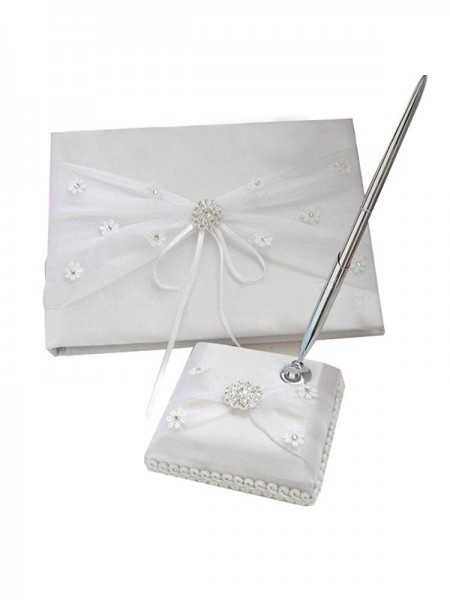 Bright Cloth With Rhinestone/Applique Guestbook & Pen Set